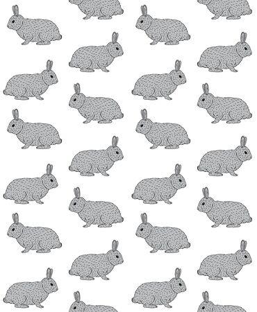 Wektor wzór ręcznie rysowane doodle szkic szary królik na białym tle Ilustracje wektorowe