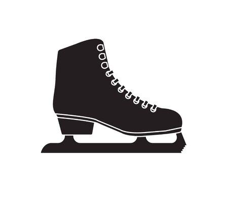 Vector black flat outline ice skates isolated on white background