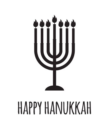 Vector flat black Hanukkah candle silhouette with happy Hanukkah lettering isolated on white background. Greeting card illustration