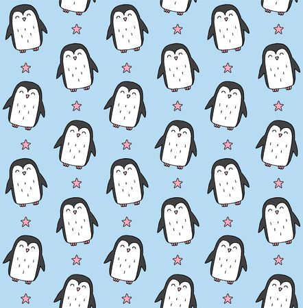 Vector seamless pattern of colored hand drawn doodle penguin isolated on blue background Standard-Bild - 134746461