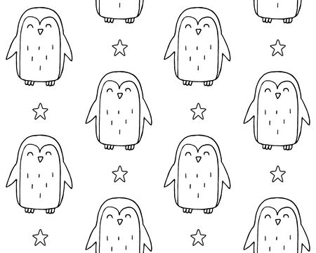 Vector seamless pattern of hand drawn doodle sketch penguin isolated on white background Standard-Bild - 134746464