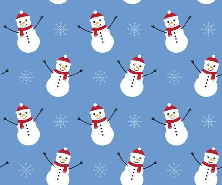 Vector seamless pattern of flat cartoon snowman isolated on blue background