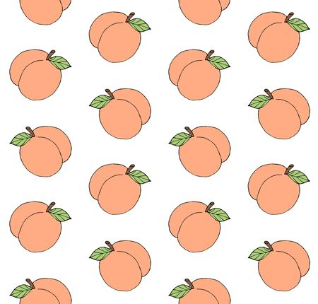 Vector seamless pattern of hand drawn colored doodle sketch peach isolated on white background