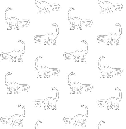 Vector seamless pattern of hand drawn sketch diplodocus brachiosaurus dinosaur isolated on white background Illustration