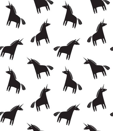 Vector seamless pattern of hand drawn doodle black unicorn silhouette isolated on white background