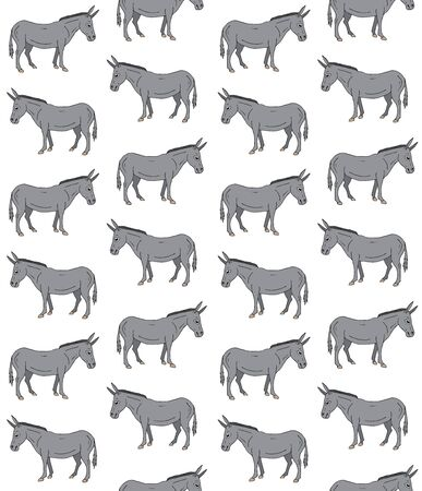 Vector seamless pattern of gray hand drawn sketch donkey isolated on white background 向量圖像