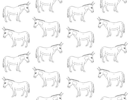 Vector seamless pattern of hand drawn doodle sketch donkey isolated on white background