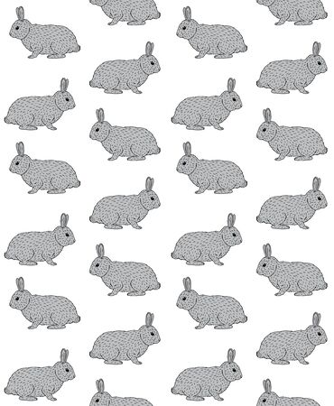 Vector seamless pattern of hand drawn doodle sketch gray rabbit isolated on white background 向量圖像