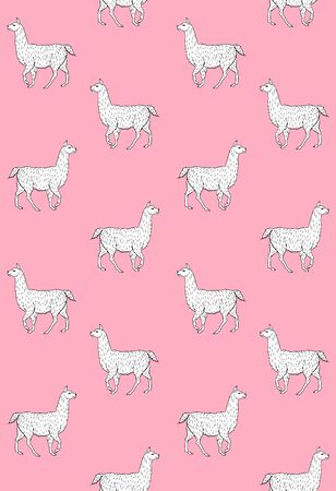 Vector seamless pattern of white hand drawn sketch llama isolated on pastel pink background Archivio Fotografico - 134755025