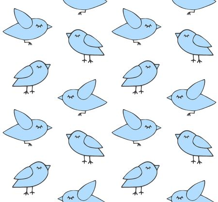 Vector seamless pattern of hand drawn doodle blue birds isolated on white background Standard-Bild - 134755027