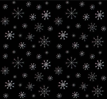 Vector seamless pattern of hand drawn holographic doodle snowflakes isolated on black background. Christmas winter illustration