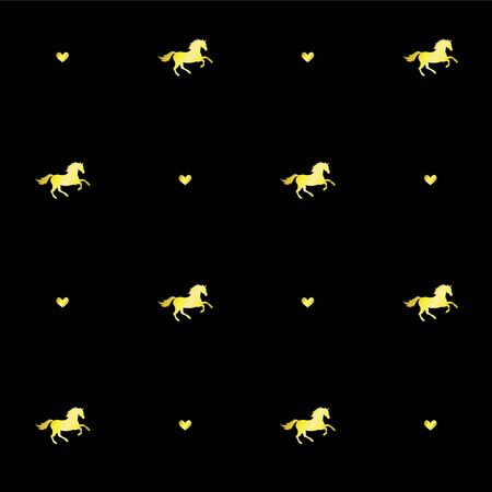 Vector seamless pattern of golden glitter unicorn horse silhouette and hearts isolated on black background