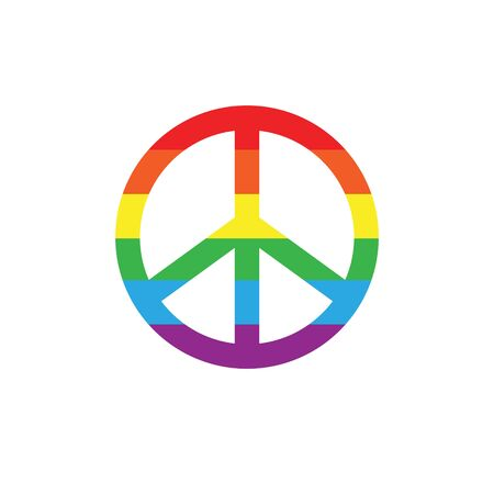 Vector flat peace symbol with lgbt rainbow flag isolated on white background