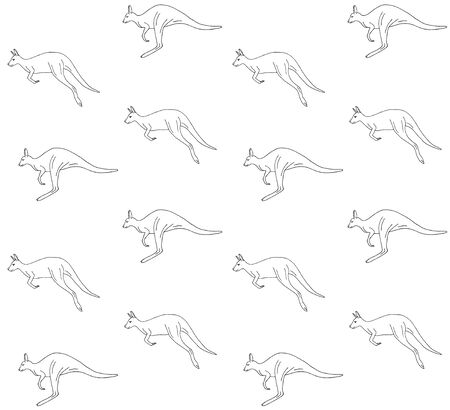 Vector seamless pattern of hand drawn doodle sketch black kangaroo isolated on white background Stock Illustratie