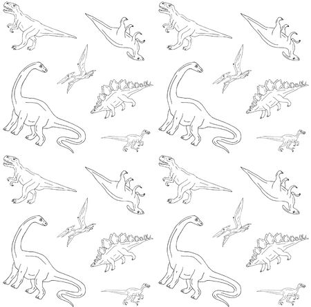 Vector seamless pattern of hand drawn doodle sketch dinosaurs isolated on white background Stock Illustratie