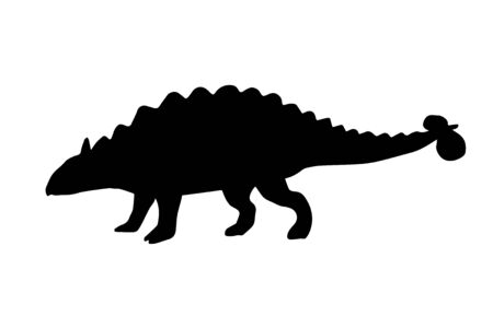 Vector black ankylosaurus silhouette dinosaur isolated on white background Illustration