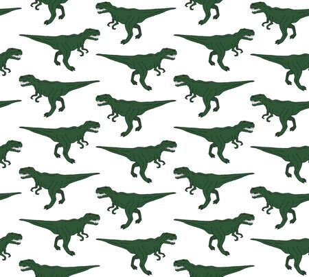 Vector seamless pattern of green hand drawn outline sketch tyrannosaur rex dinosaur isolated on white background