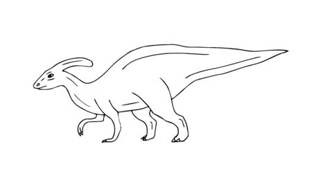 Vector hand drawn doodle sketch parasaurolophus dinosaur isolated on white background Illustration
