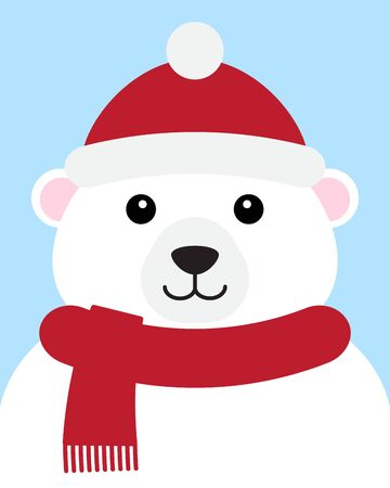 Vector flat cartoon polar bear face in hat and scarf portrait isolated on blue background