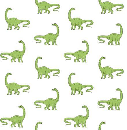 Vector seamless pattern of green hand drawn sketch diplodocus brachiosaurus dinosaur isolated on white background