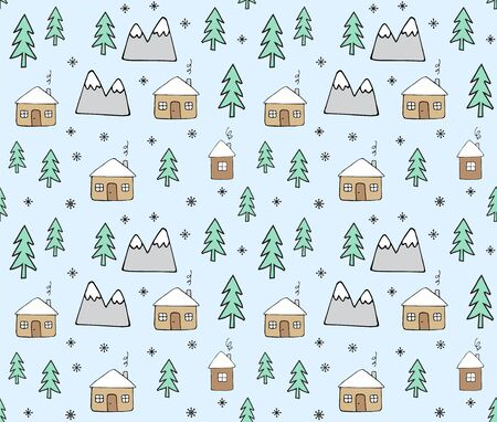 Vector seamless pattern of hand drawn doodle house and trees isolated on pastel blue background. Christmas winter illustration.
