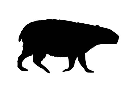 Vector flat black capybara silhouette isolated on white background Illustration