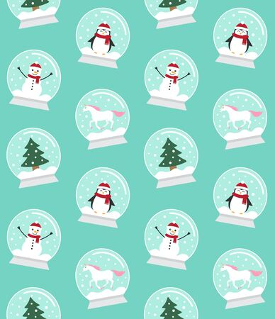 Vector seamless pattern of flat cartoon snow balls with penguin, snowman, unicorn and Christmas tree spruce isolated on mint background