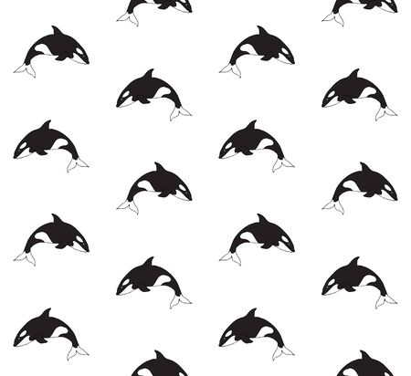 Vector seamless pattern of hand drawn doodle sketch killer whale isolated on white background
