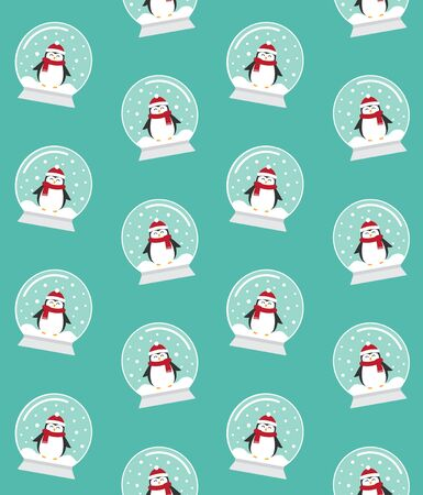 Vector seamless pattern of flat cartoon snowball with penguin isolated on mint background