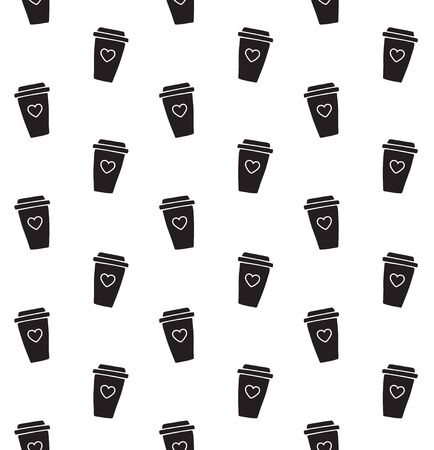 Vector seamless pattern of hand drawn doodle sketch black take away coffee isolated on white background