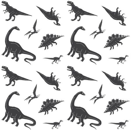 Vector seamless pattern of black hand drawn doodle sketch dinosaurs isolated on white background