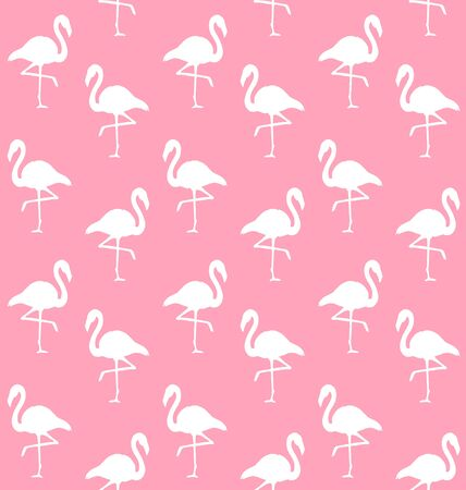 Vector seamless pattern of white flamingo silhouette isolated on pastel pink background