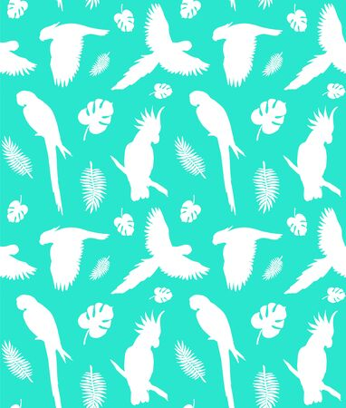 Vector seamless pattern of white different parrot and palm leaves silhouette isolated on green background Vectores