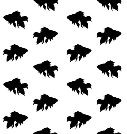 Vector seamless pattern of flat black silhouette of golden fish isolated on white background