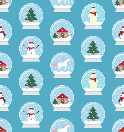 Vector seamless pattern of different flat cartoon snowball isolated on blue background Stock Illustratie