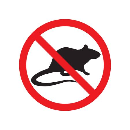 Vector black rat mouse silhouette crossed in red circle isolated on white background. extermination of rodents sign