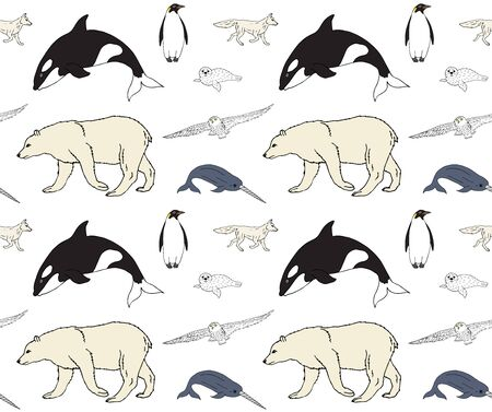 Vector seamless pattern of colored hand drawn doodle sketch polar animals isolated on white background Illustration