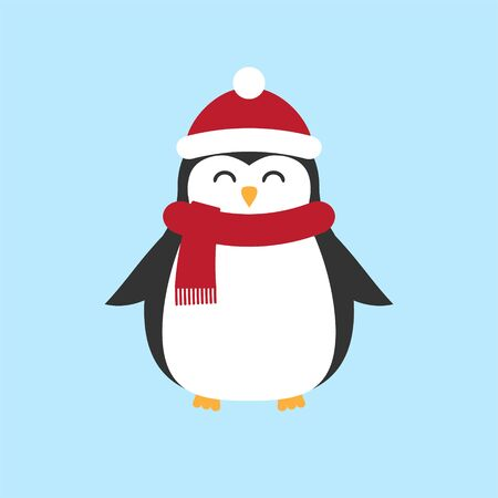 Vector flat cartoon penguin in hat and scarf isolated on pastel blue background Stock Illustratie