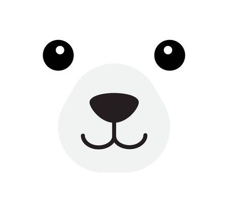 Vector flat cartoon polar bear face isolated on white background