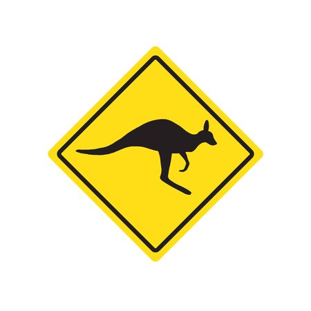 Vector Kangaroo rhombus yellow road sign isolated on white background
