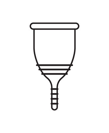 Vector flat black outline woman menstrual cup isolated on white background Ilustrace