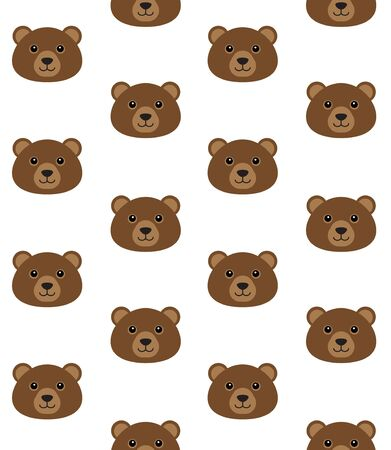 Vector seamless pattern of flat cartoon bear grizzly face isolated on white background Vetores