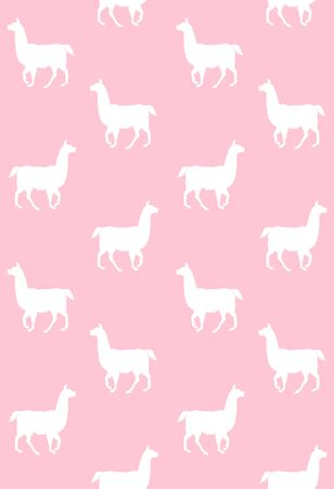 Vector seamless pattern of white llama silhouette isolated on pink background Иллюстрация