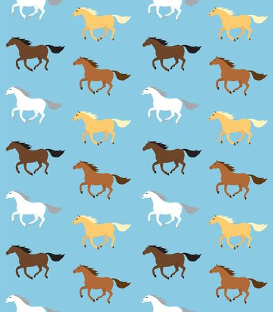 Vector seamless pattern of flat cartoon different colored horses isolated on blue background