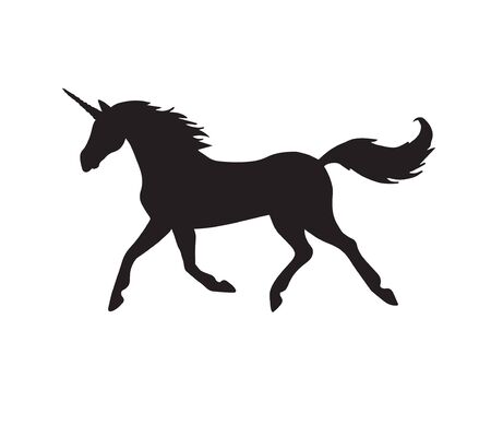 Vector black running unicorn silhouette isolated on white background Иллюстрация