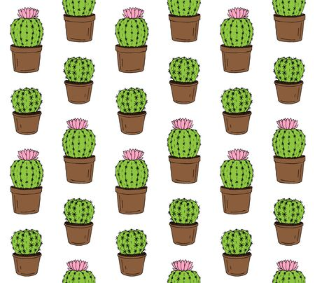 Vector seamless pattern of hand drawn doodle sketch colored flower cactus in pot isolated on white background