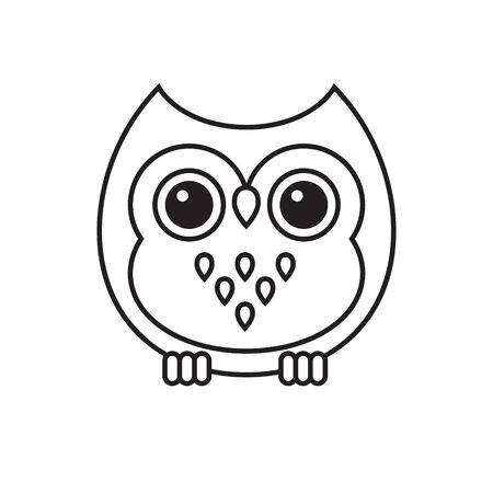 Vector flat cartoon kawaii outline owl isolated on white background Иллюстрация