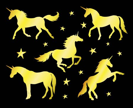Vector set bundle of gold glitter unicorn silhouette isolated on black background