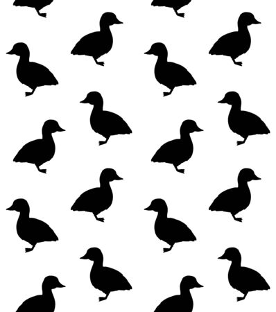 Vector seamless pattern of black duckling silhouette isolated on white background Иллюстрация