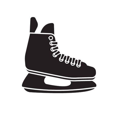 Vector flat black hockey ice skate isolated on white background